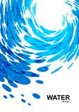 Water background, blue wave on white Royalty Free Stock Photography
