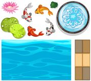 Water background with fish and lotus. Illustration Royalty Free Stock Photo