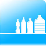Water background with set plastic bottles Royalty Free Stock Photo