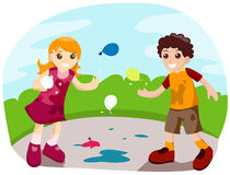Water Balloon Fight Royalty Free Stock Images