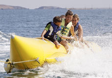 Water banana-banana boat. royalty free stock photo
