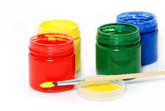 Water based paints and brush Royalty Free Stock Photos