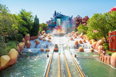 Water based ride  at Universal Studios Islands of Adventure. ORLANDO,USA - AUGUST 24, 2014 : The Dudley Do-Right Ripsaw Falls ride at Universal Studios Islands Royalty Free Stock Images