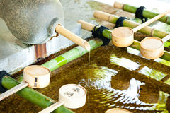 Water basin for ablution in Japanese temple Royalty Free Stock Photography