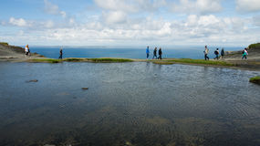Water basin on top of the Cliffs of Moher Royalty Free Stock Images