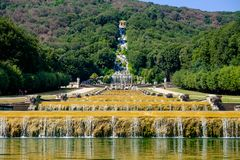 Water basins of the gardens of the `Reggia di Caserta`. royalty free stock photos