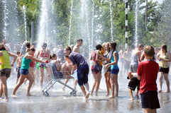 Water battle fun for teens Royalty Free Stock Photos