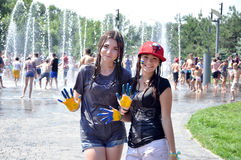 Water battle fun for teens Ukraine Stock Photography
