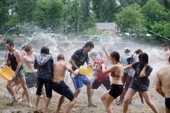 Water battle on Kiev beach Stock Photos