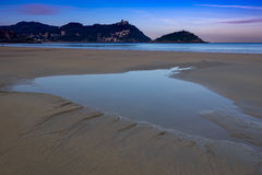 Water in the beach of city of San Sebastian Royalty Free Stock Image
