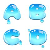 Water bead font type. A set of water bead font type, letter A to D royalty free illustration
