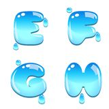 Water bead font type. A set of water bead font type, letter E to H royalty free illustration