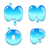 Water bead font type. A set of water bead font type, letter M to P royalty free illustration