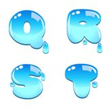 Water bead font type. A set of water bead font type, letter Q to T royalty free illustration