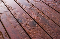 Water Beading on Freshly Sealed Deck Stock Photos
