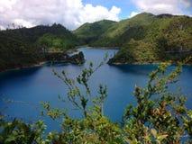 Blue lake and green mountains in Montebello, Chiapas. Water, beautiful, landscape, travel, tourism, environment, Chiapas stock image