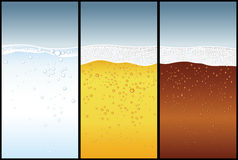 Water, Beer, Cola. 3 drinks with lots of bubbles stock illustration