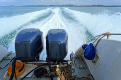 Water behind running speed boat Royalty Free Stock Photo