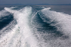 Water behind running speed boat Royalty Free Stock Photos