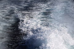 Water behind a ship. View of the white water from the rear of a ship Royalty Free Stock Photography