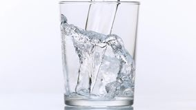 Water being poured into Glass against White Background