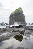 Water bespattende golven op het overzees bij Papuma-Strand, Jember, het Oosten Jawa, Indonesië Stock Foto's