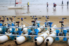 Water bicycles on the sandy beach Royalty Free Stock Photography