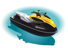 Water bike. Illustration of the water bike for an unforgettable ride on the sea Stock Image