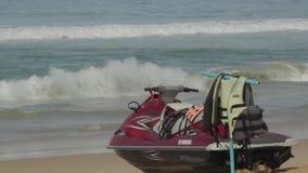 Water bike on the beach stock video