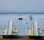 Water bikes on the beach Stock Photo