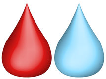 Water and blood droplet Royalty Free Stock Image