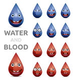 Water and blood. Drops emoticons on white background Royalty Free Stock Photography