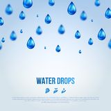 Water Blue Drops. Vector illustration. Royalty Free Stock Images