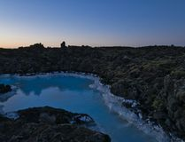 Water of the Blue Lagoon in Iceland in the evening. The milky water of the Blue Lagoon in Iceland in the late evening royalty free stock photos