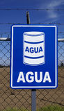 Water blue sign in a fence Royalty Free Stock Photography