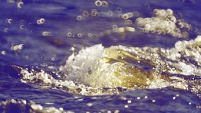 Water blue waves flowing, running