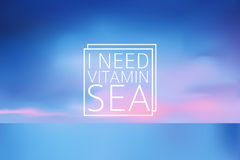 Water blurred background with line sign I need vitamin sea Stock Photo