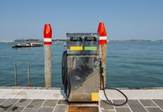 Boat petrol station in Venice Italy. Water boat petrol station in Venice, Italy royalty free stock photo