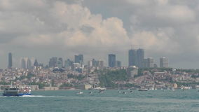Water boat trip on the Bosphorus in Istanbul, overlooking the city`s coast stock footage