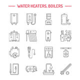 Water boiler, thermostat, electric gas solar heaters and other house heating appliances line icons. Thin linear Royalty Free Stock Photo