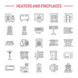 Water boiler, thermostat, electric gas solar heaters and other house heating appliances line icons. Thin linear Stock Photography