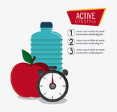 Water bottle appel chronometer healthy lifestyle design Royalty Free Stock Photo
