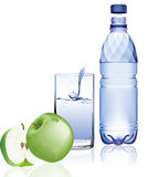 Water bottle and apple. Stock Photos