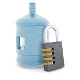 Water bottle and combination lock. 3d render isolated on white background Stock Photos