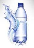 Water bottle in fresh water wave Royalty Free Stock Image