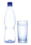 Water bottle and glass. Bottle of water and glass. Vector illustration Royalty Free Stock Photo