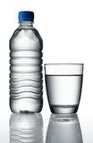 Water in bottle and glass Royalty Free Stock Photo