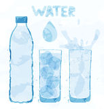 Water bottle and a glass. Of water color stains Royalty Free Stock Photography