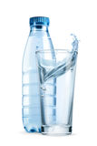 Water bottle and glass. Vector icon Royalty Free Stock Photos