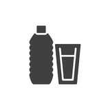 Water bottle and glass with water icon vector. Filled flat sign, solid pictogram isolated on white. Symbol, logo illustration. Pixel perfect graphics Stock Images